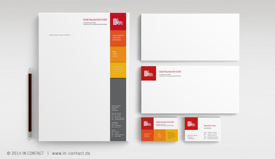 Gliedl Haustechnik - Logoentwicklung, Brief- und Geschäftsausstattung